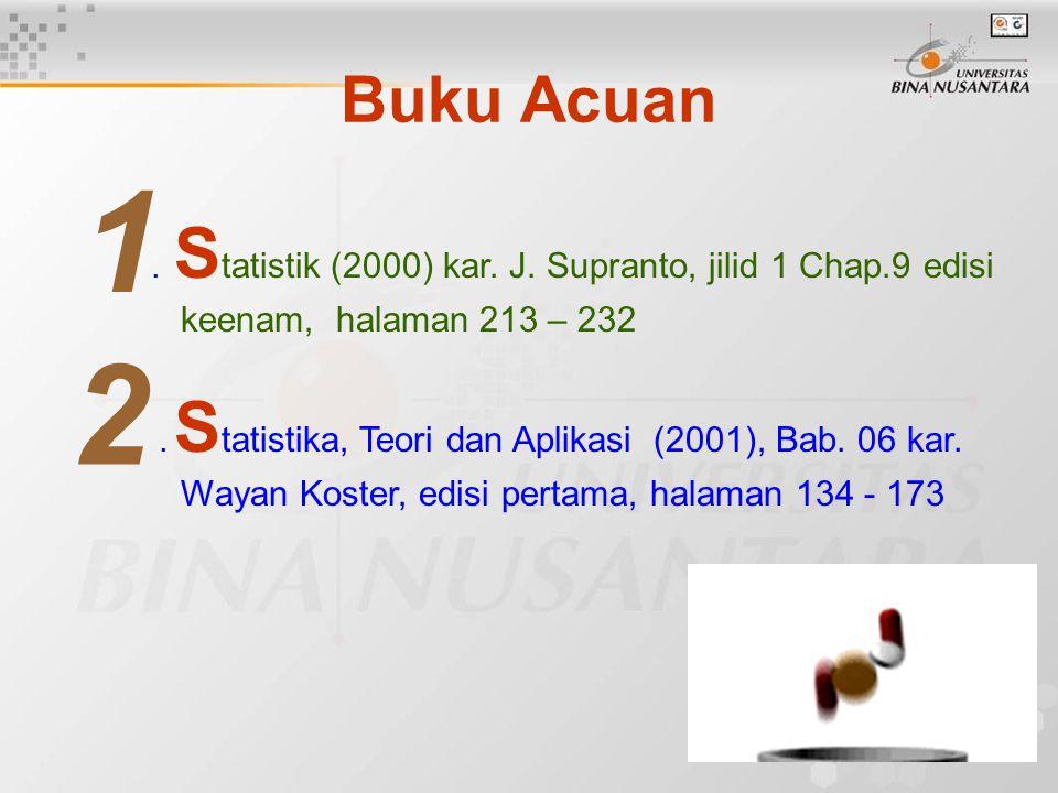 Buku Acuan. S tatistik (2000) kar. J. Supranto, jilid 1 Chap.9 edisi keenam, halaman 213 – 232. S tatistika, Teori dan Aplikasi (2001), Bab. 06 kar. W