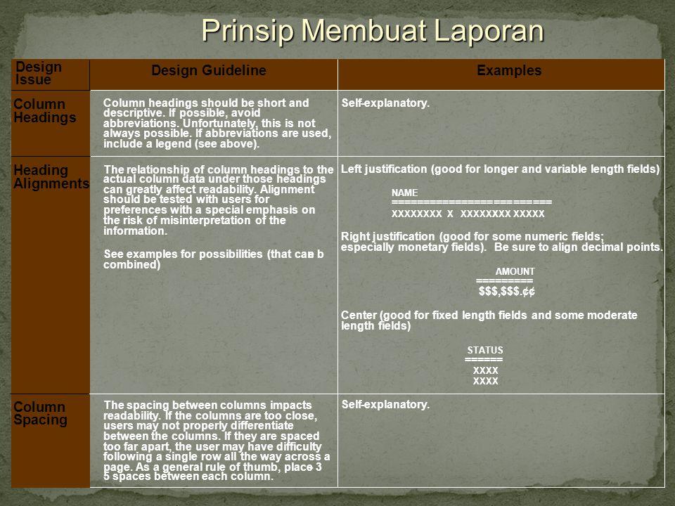 Prinsip Membuat Laporan