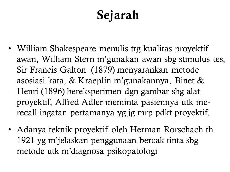 Sejarah William Shakespeare menulis ttg kualitas proyektif awan, William Stern m'gunakan awan sbg stimulus tes, Sir Francis Galton (1879) menyarankan