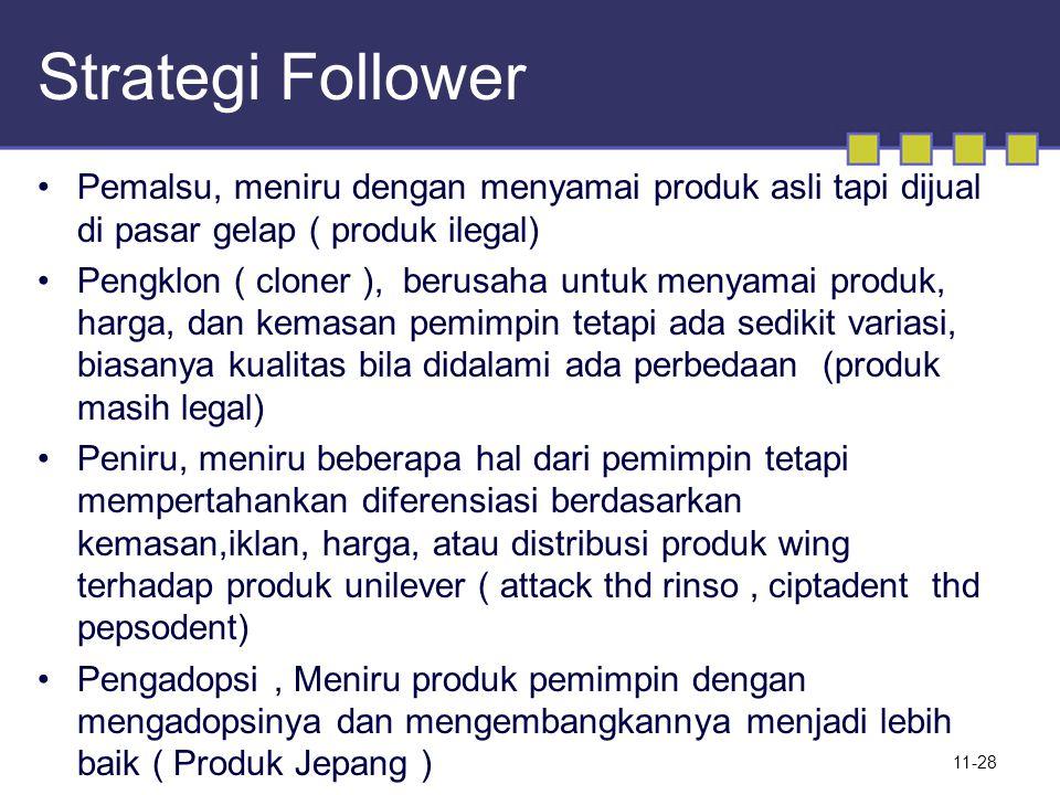 Strategi Follower Pemalsu, meniru dengan menyamai produk asli tapi dijual di pasar gelap ( produk ilegal) Pengklon ( cloner ), berusaha untuk menyamai
