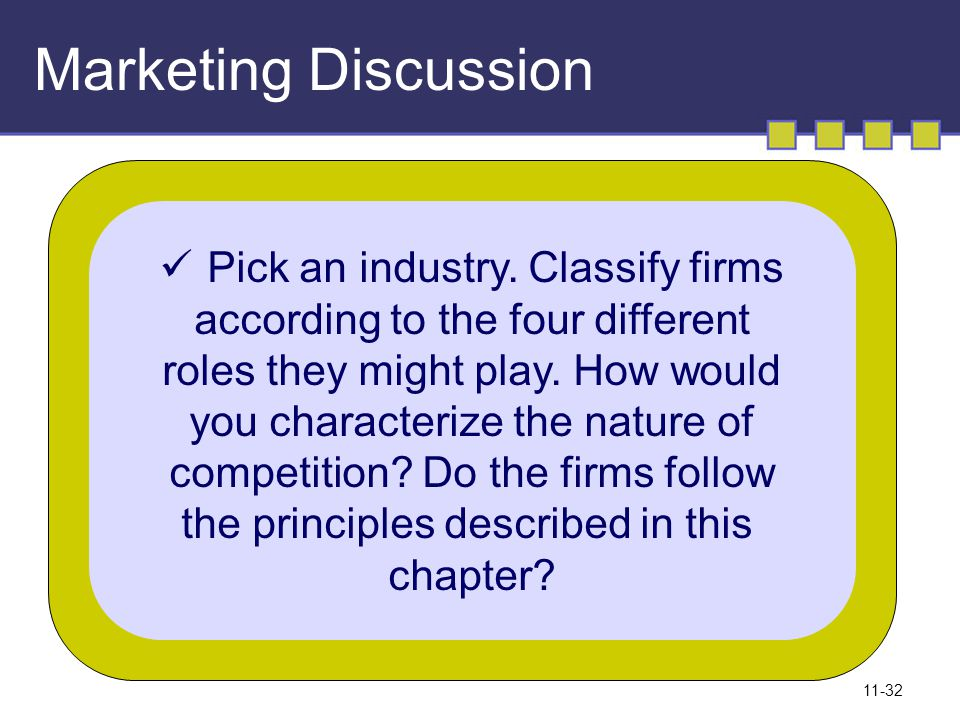 11-32 Marketing Discussion Pick an industry. Classify firms according to the four different roles they might play. How would you characterize the natu