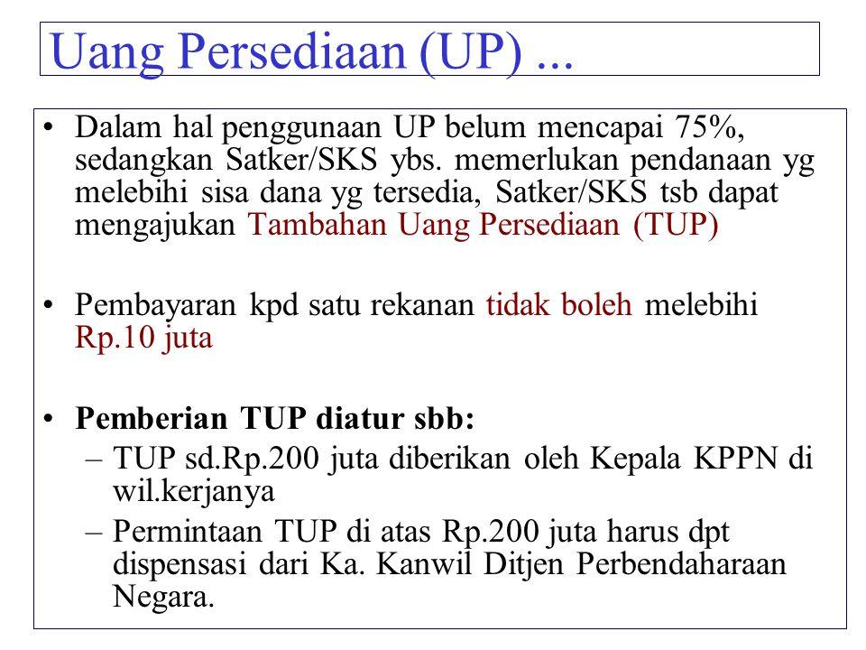 Uang Persediaan (UP)... Dalam hal penggunaan UP belum mencapai 75%, sedangkan Satker/SKS ybs. memerlukan pendanaan yg melebihi sisa dana yg tersedia,