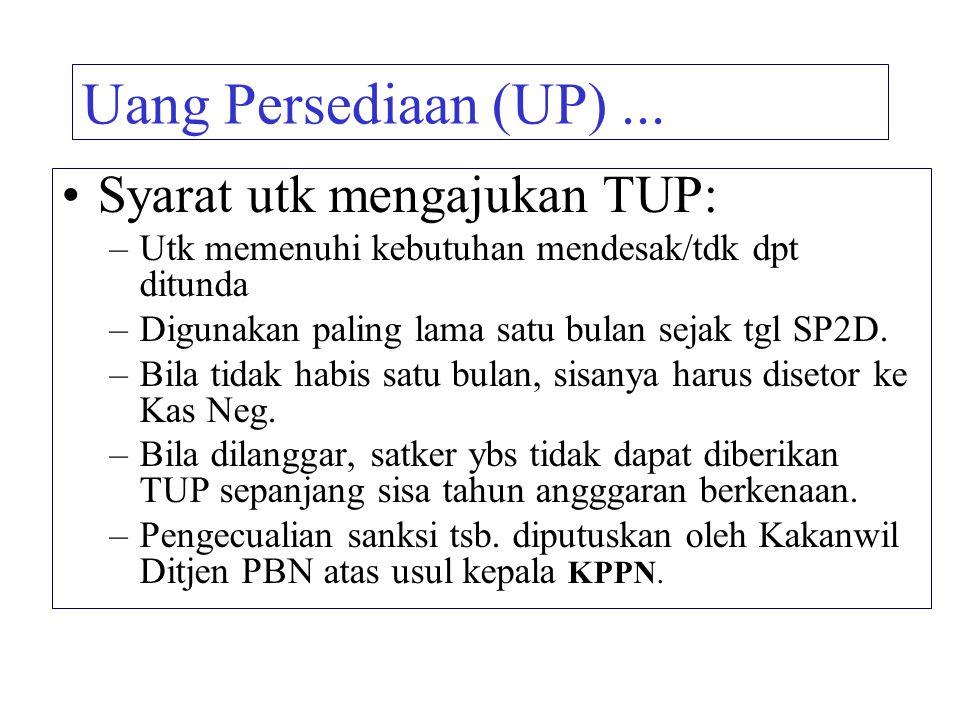 Uang Persediaan (UP)... Syarat utk mengajukan TUP: –Utk memenuhi kebutuhan mendesak/tdk dpt ditunda –Digunakan paling lama satu bulan sejak tgl SP2D.