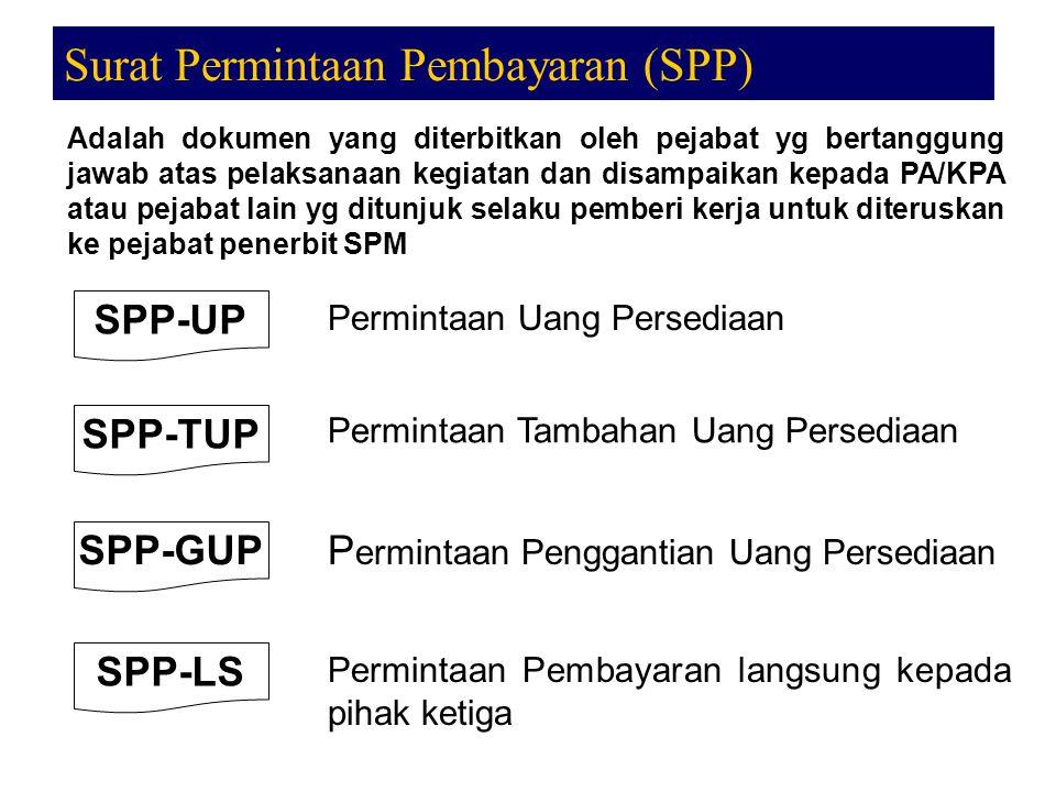 Surat Permintaan Pembayaran (SPP) Adalah dokumen yang diterbitkan oleh pejabat yg bertanggung jawab atas pelaksanaan kegiatan dan disampaikan kepada P