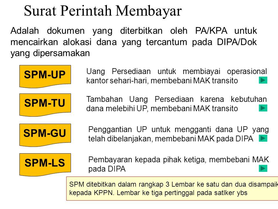 Surat Perintah Membayar Adalah dokumen yang diterbitkan oleh PA/KPA untuk mencairkan alokasi dana yang tercantum pada DIPA/Dok yang dipersamakan Uang