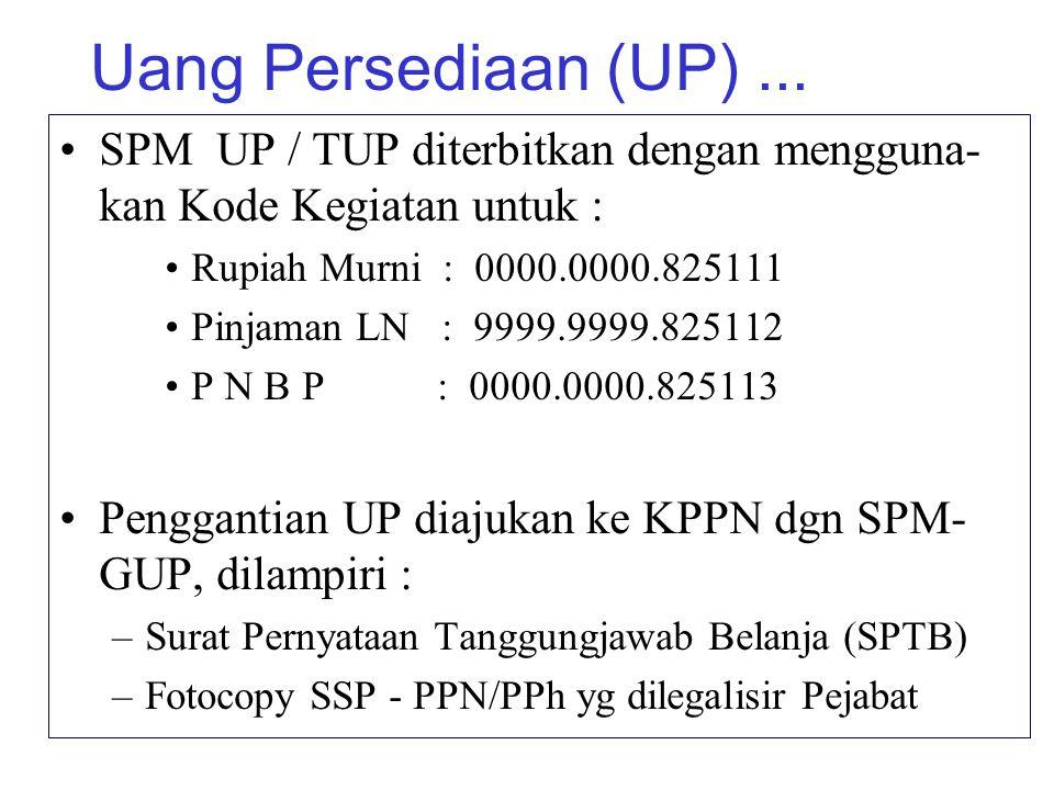 Uang Persediaan (UP)... SPM UP / TUP diterbitkan dengan mengguna- kan Kode Kegiatan untuk : Rupiah Murni : 0000.0000.825111 Pinjaman LN : 9999.9999.82