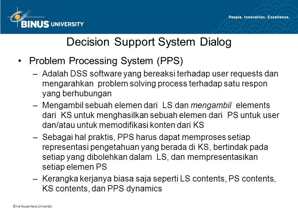 Bina Nusantara University Decision Support System Dialog Problem Processing System (PPS) –Adalah DSS software yang bereaksi terhadap user requests dan mengarahkan problem solving process terhadap satu respon yang berhubungan –Mengambil sebuah elemen dari LS dan mengambil elements dari KS untuk menghasilkan sebuah elemen dari PS untuk user dan/atau untuk memodifikasi konten dari KS –Sebagai hal praktis, PPS harus dapat memproses setiap representasi pengetahuan yang berada di KS, bertindak pada setiap yang dibolehkan dalam LS, dan mempresentasikan setiap elemen PS –Kerangka kerjanya biasa saja seperti LS contents, PS contents, KS contents, dan PPS dynamics