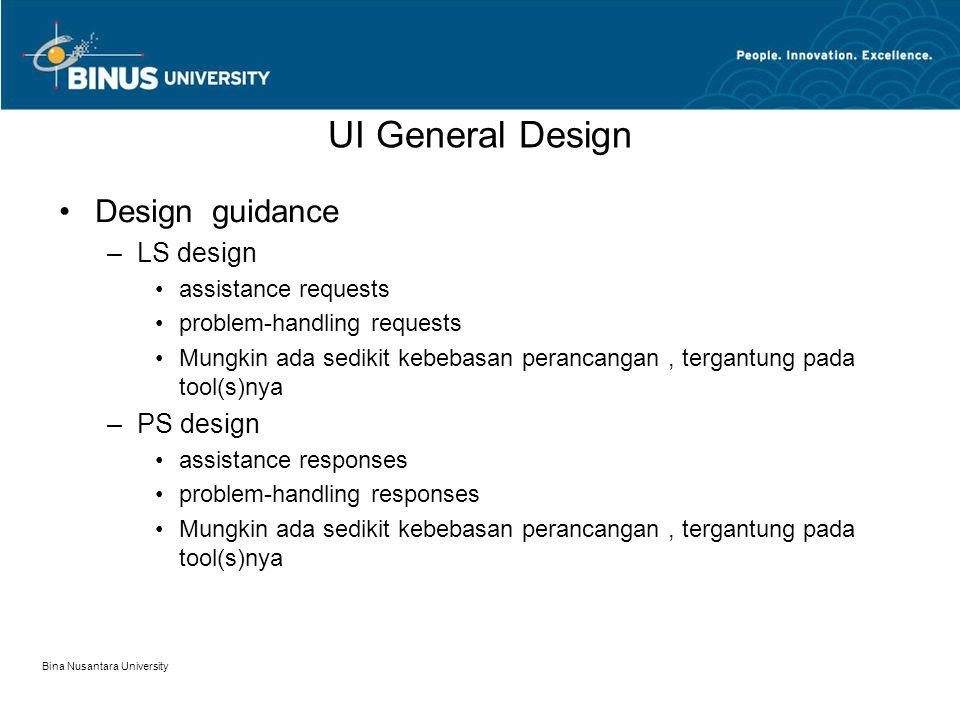 Bina Nusantara University UI General Design Design guidance –LS design assistance requests problem-handling requests Mungkin ada sedikit kebebasan perancangan, tergantung pada tool(s)nya –PS design assistance responses problem-handling responses Mungkin ada sedikit kebebasan perancangan, tergantung pada tool(s)nya