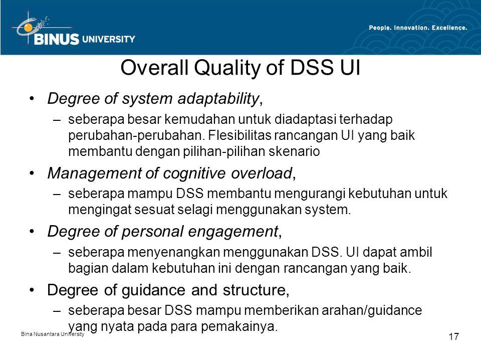Bina Nusantara University 17 Overall Quality of DSS UI Degree of system adaptability, –seberapa besar kemudahan untuk diadaptasi terhadap perubahan-perubahan.