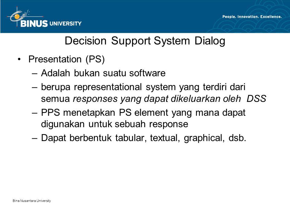 Bina Nusantara University Decision Support System Dialog Presentation (PS) –Adalah bukan suatu software –berupa representational system yang terdiri dari semua responses yang dapat dikeluarkan oleh DSS –PPS menetapkan PS element yang mana dapat digunakan untuk sebuah response –Dapat berbentuk tabular, textual, graphical, dsb.