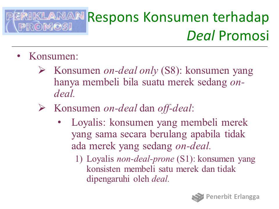 Daya Respons Konsumen terhadap Deal Promosi Konsumen:  Konsumen on-deal only (S8): konsumen yang hanya membeli bila suatu merek sedang on- deal.  Ko