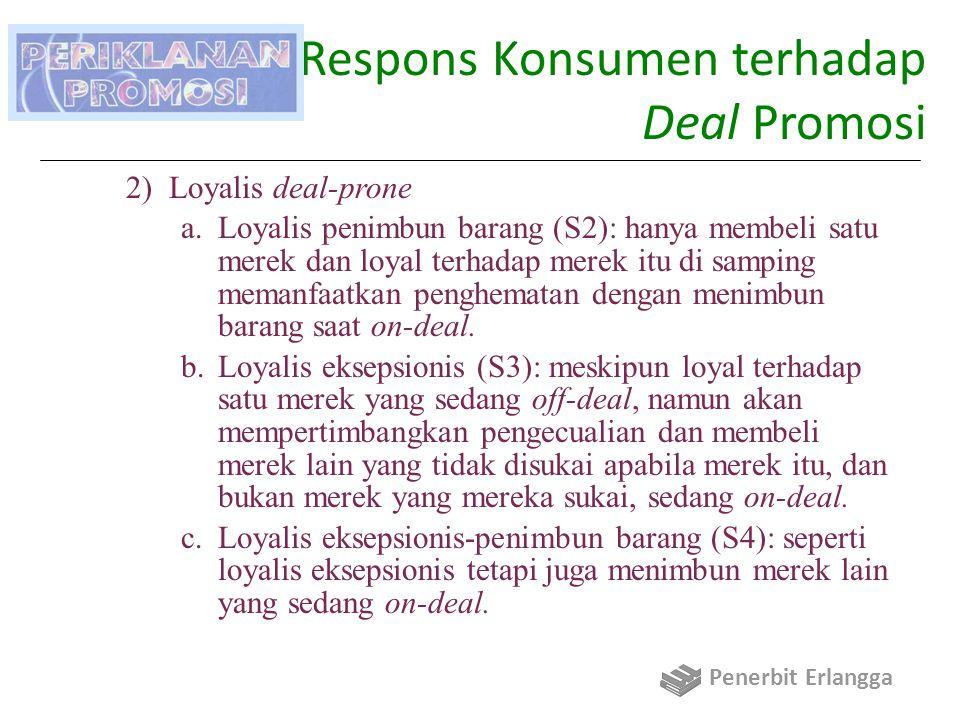 Daya Respons Konsumen terhadap Deal Promosi 2)Loyalis deal-prone a.Loyalis penimbun barang (S2): hanya membeli satu merek dan loyal terhadap merek itu