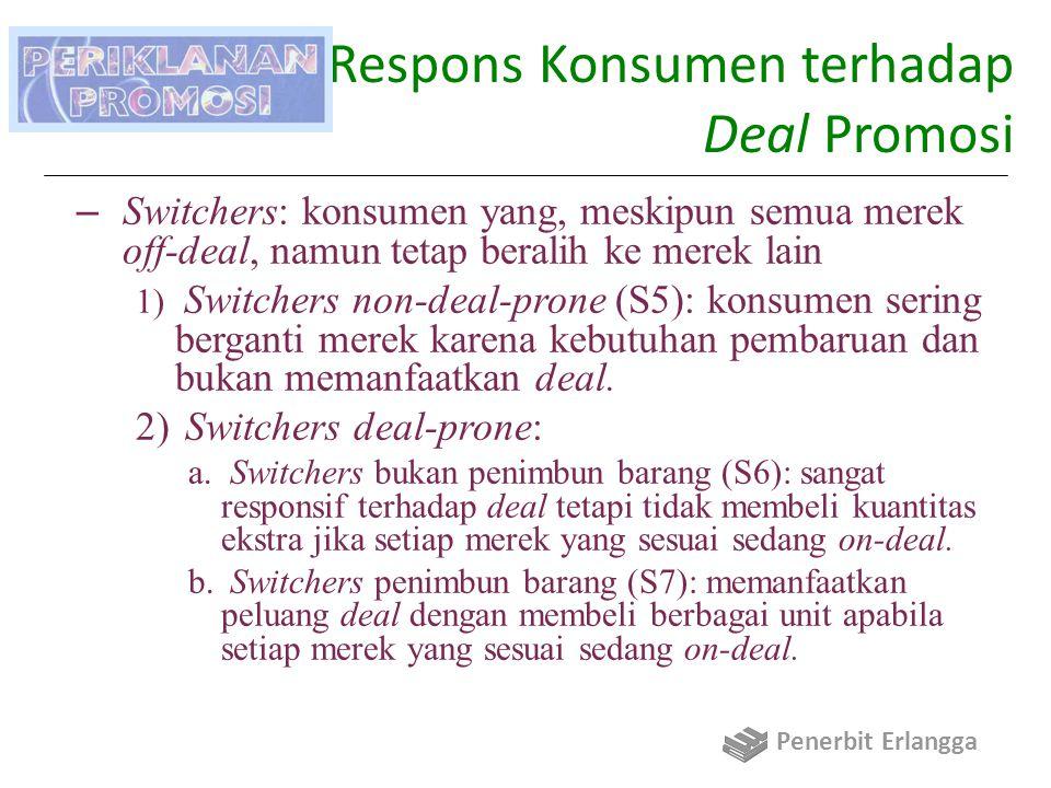 Daya Respons Konsumen terhadap Deal Promosi – Switchers: konsumen yang, meskipun semua merek off-deal, namun tetap beralih ke merek lain 1) Switchers