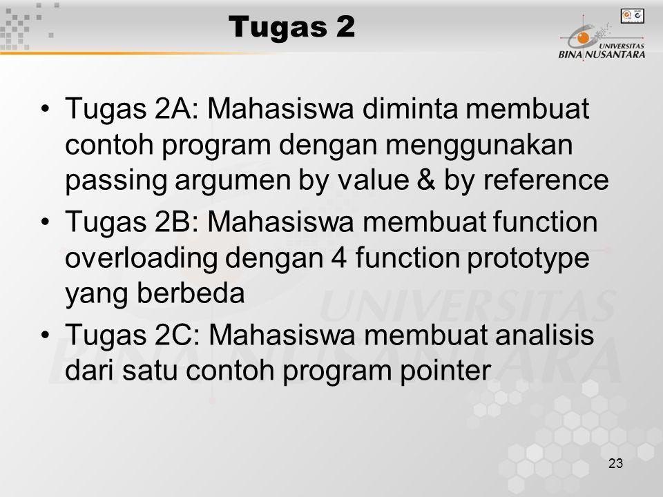 23 Tugas 2 Tugas 2A: Mahasiswa diminta membuat contoh program dengan menggunakan passing argumen by value & by reference Tugas 2B: Mahasiswa membuat function overloading dengan 4 function prototype yang berbeda Tugas 2C: Mahasiswa membuat analisis dari satu contoh program pointer