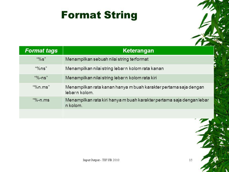 15 Format tagsKeterangan %s Menampilkan sebuah nilai string terformat %ns Menampilkan nilai string lebar n kolom rata kanan %-ns Menampilkan nilai string lebar n kolom rata kiri %n.ms Menampilkan rata kanan hanya m buah karakter pertama saja dengan lebar n kolom.
