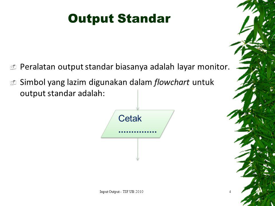  Peralatan output standar biasanya adalah layar monitor.