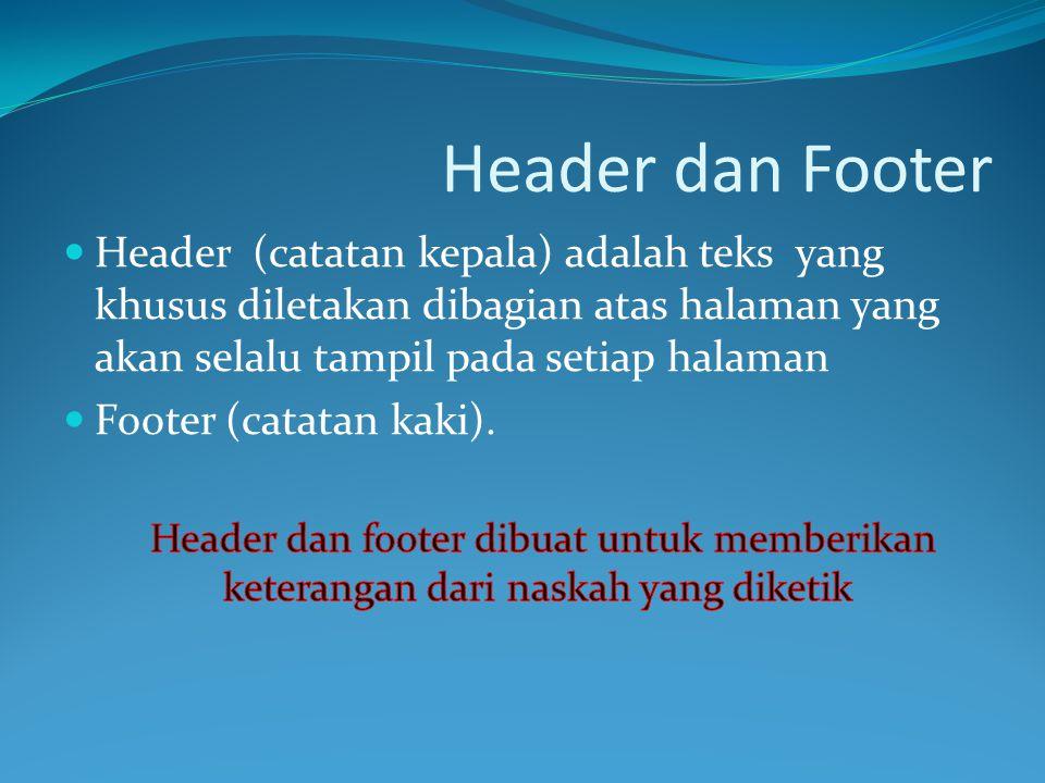 Header dan Footer