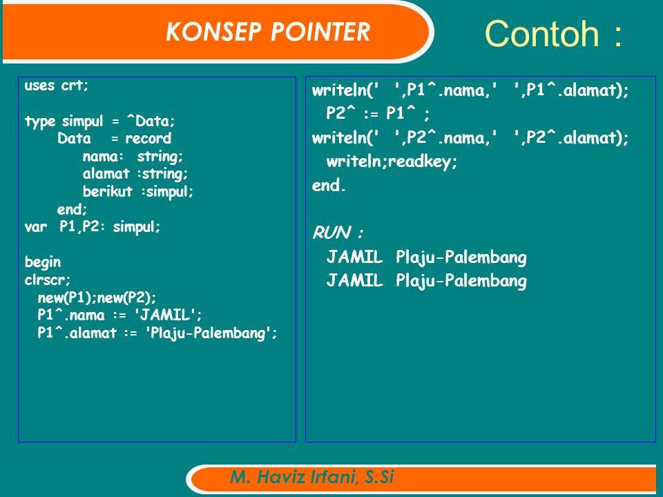 Contoh : uses crt; type simpul = ^Data; Data = record nama: string; alamat :string; berikut :simpul; end; var P1,P2: simpul; begin clrscr; new(P1);new(P2); P1^.nama := JAMIL ; P1^.alamat := Plaju-Palembang ; writeln( ,P1^.nama, ,P1^.alamat); P2^ := P1^ ; writeln( ,P2^.nama, ,P2^.alamat); writeln;readkey; end.