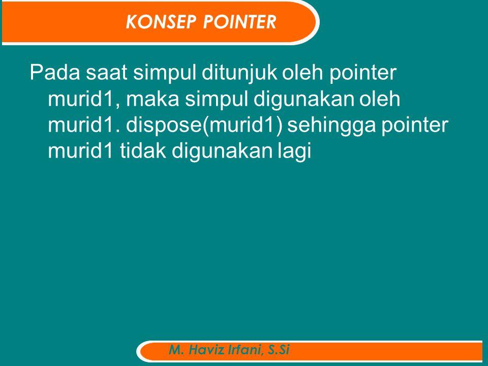 Pada saat simpul ditunjuk oleh pointer murid1, maka simpul digunakan oleh murid1.