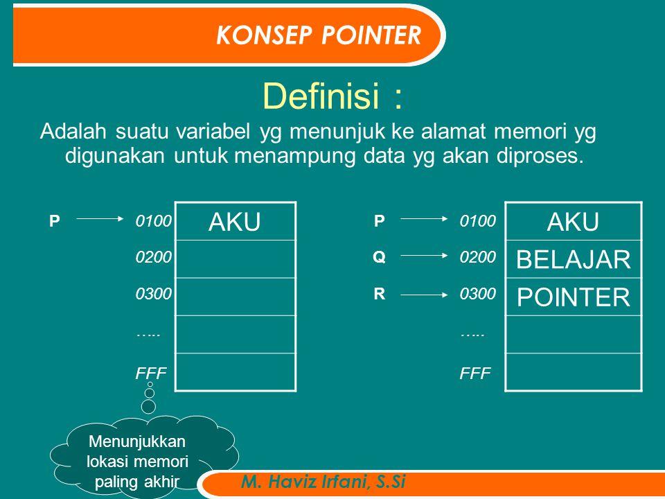 Definisi : Adalah suatu variabel yg menunjuk ke alamat memori yg digunakan untuk menampung data yg akan diproses.