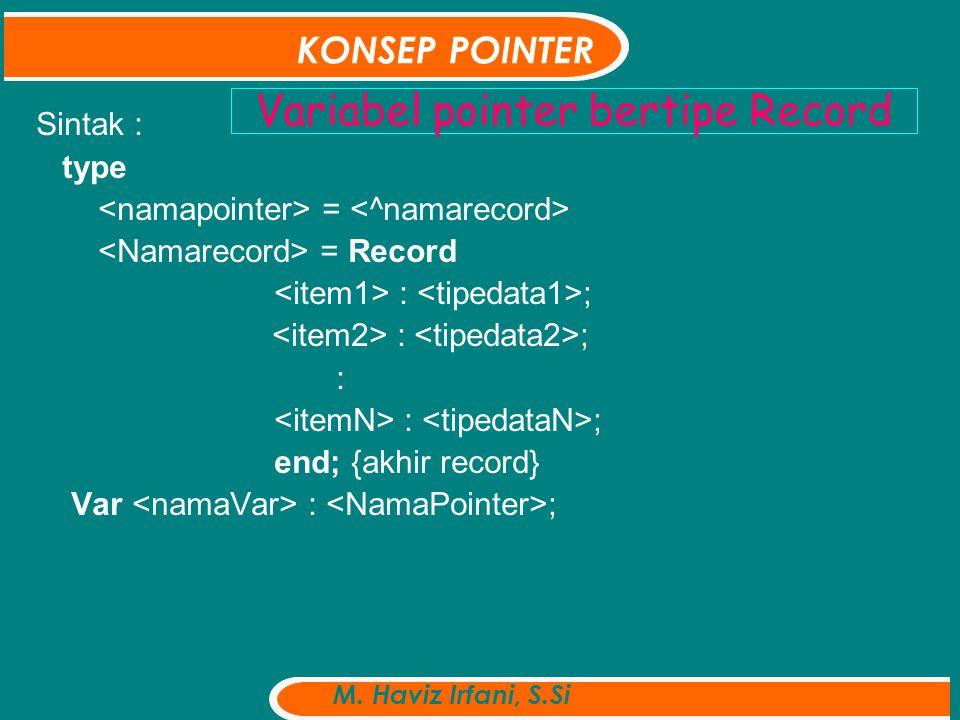 Ex: Type pointMHS=^RecMHS; recMhs = record nama: string[25] ; Nim : string[10]; Alm : string[30]; IPK : real ; end; Var dataMhs : pointMhs; KONSEP POINTER M.