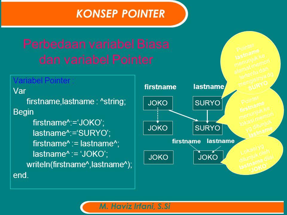 Perbedaan variabel Biasa dan variabel Pointer Variabel Pointer : Var firstname,lastname : ^string; Begin firstname^:='JOKO'; lastname^:='SURYO'; firstname^ := lastname^; lastname^ := 'JOKO'; writeln(firstname^,lastname^); end.