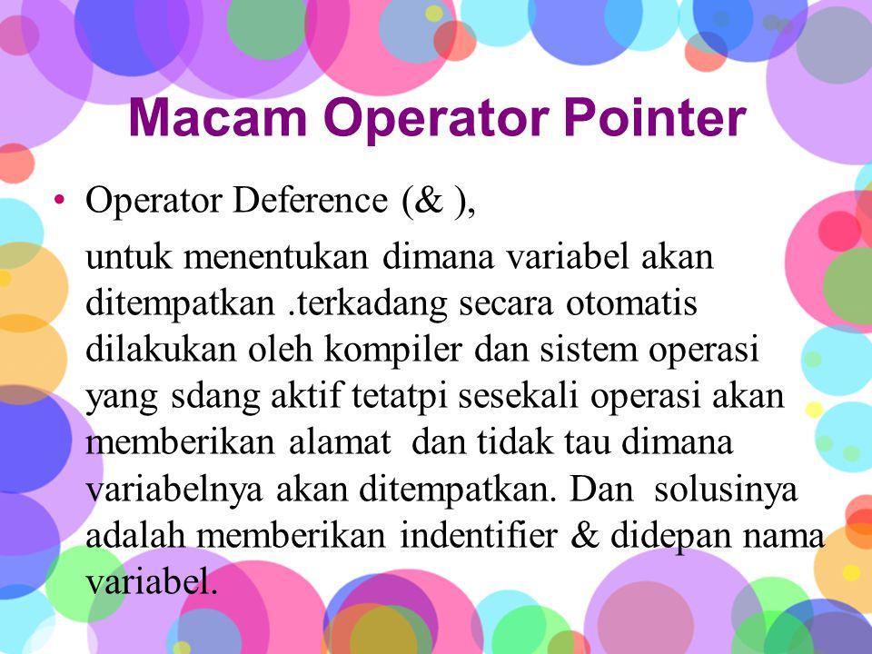 Macam Operator Pointer Operator Deference (& ), untuk menentukan dimana variabel akan ditempatkan.terkadang secara otomatis dilakukan oleh kompiler dan sistem operasi yang sdang aktif tetatpi sesekali operasi akan memberikan alamat dan tidak tau dimana variabelnya akan ditempatkan.
