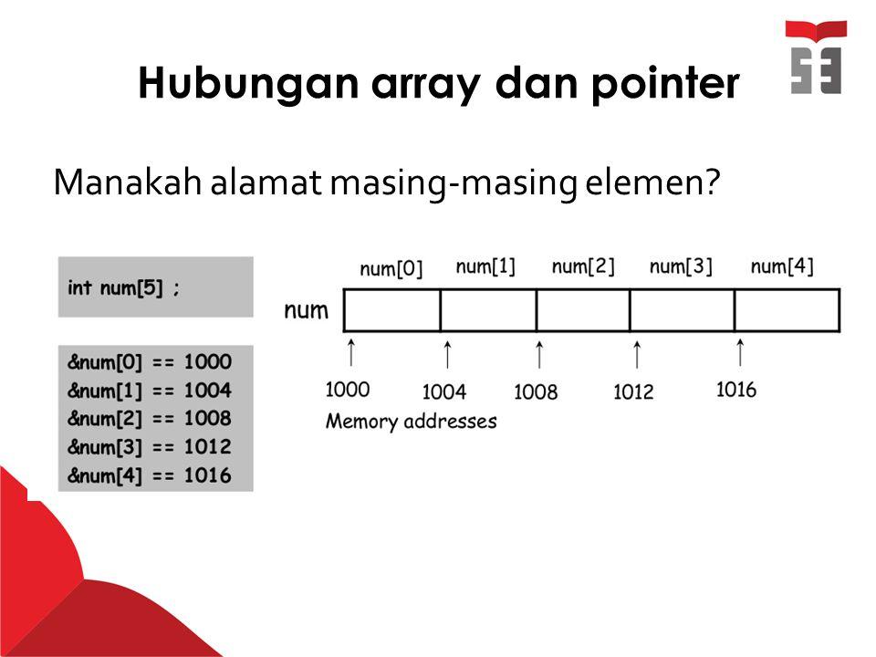 Hubungan array dan pointer Manakah alamat masing-masing elemen?
