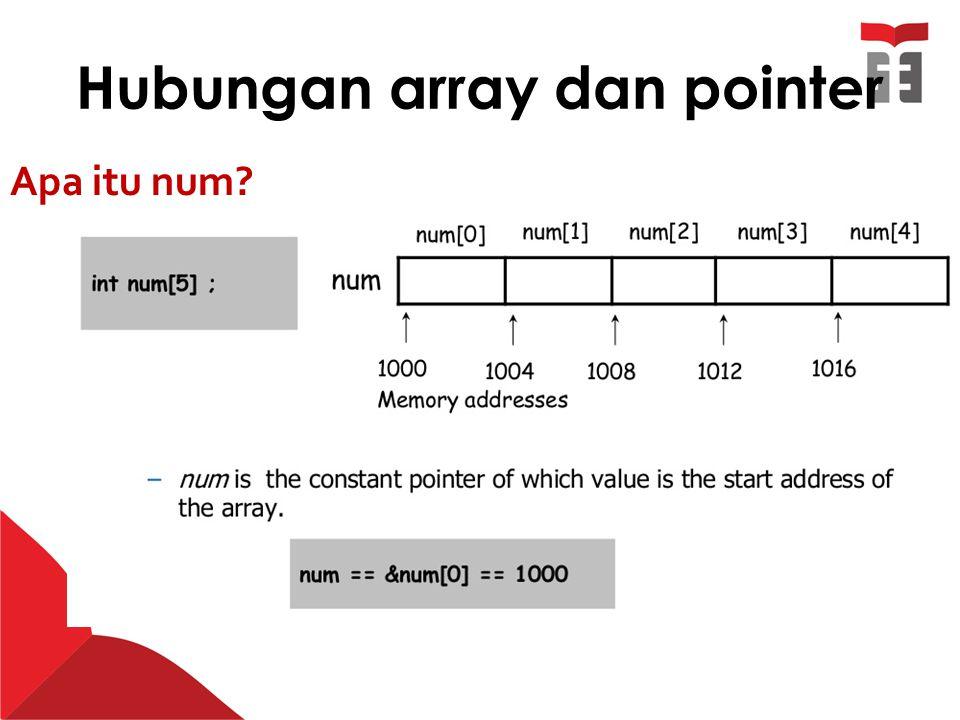 Hubungan array dan pointer Apa itu num?