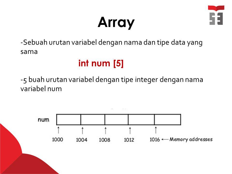 Array int num [5] -Sebuah urutan variabel dengan nama dan tipe data yang sama -5 buah urutan variabel dengan tipe integer dengan nama variabel num