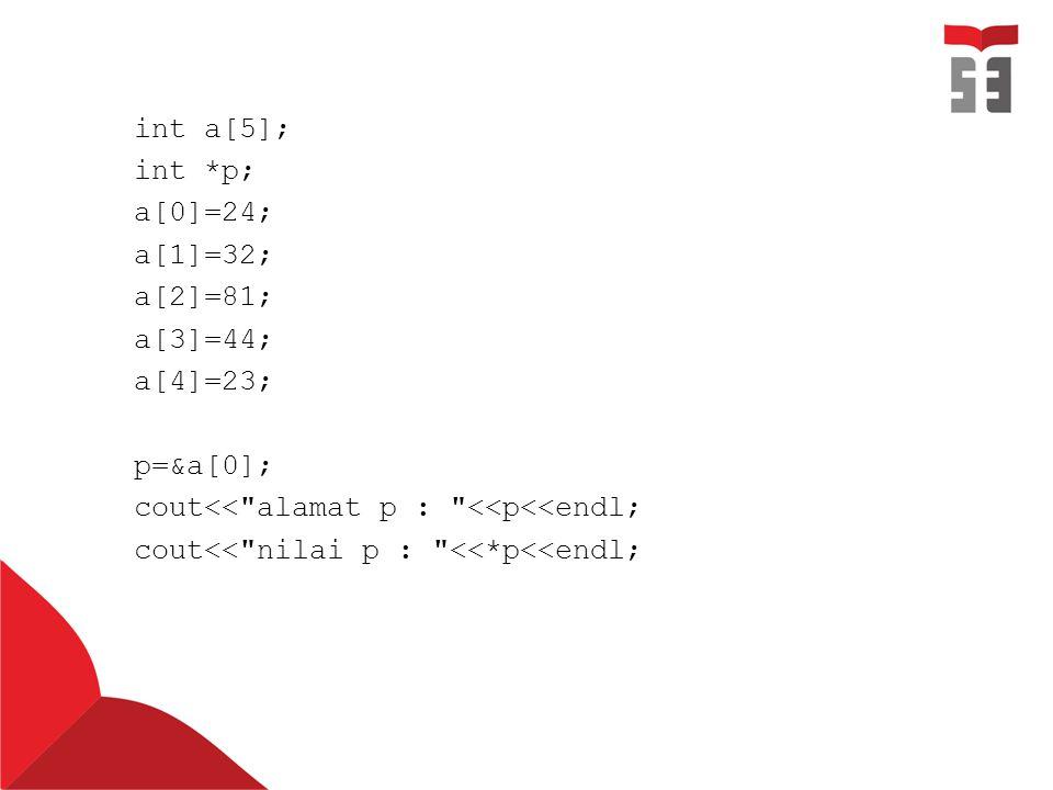 int a[5]; int *p; a[0]=24; a[1]=32; a[2]=81; a[3]=44; a[4]=23; p=&a[0]; cout<<