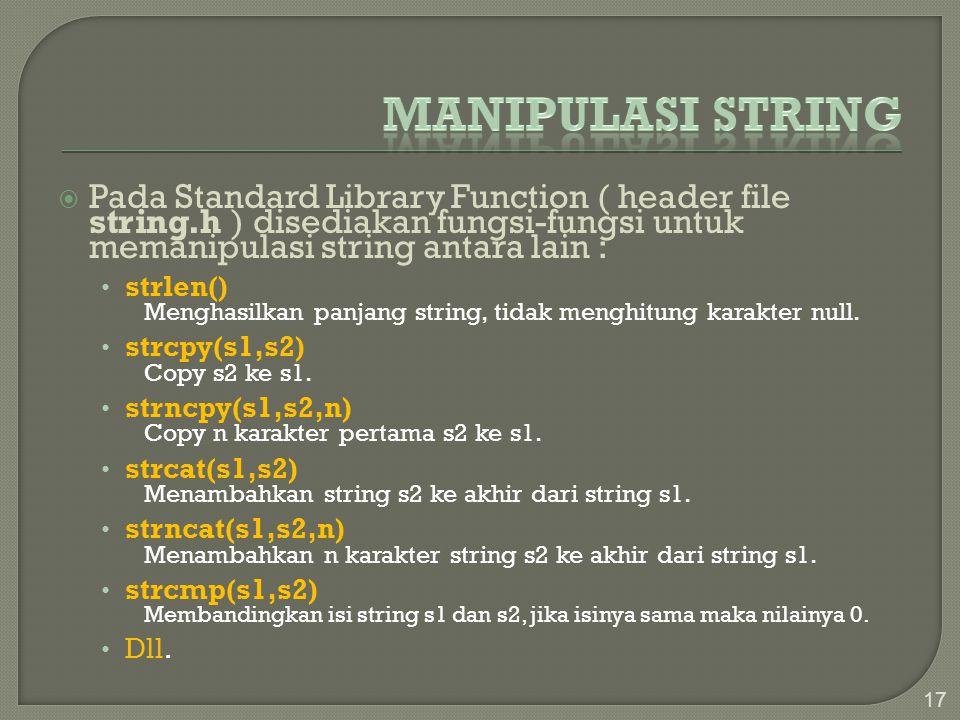  Pada Standard Library Function ( header file string.h ) disediakan fungsi-fungsi untuk memanipulasi string antara lain : strlen() Menghasilkan panja