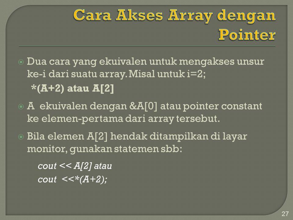  Dua cara yang ekuivalen untuk mengakses unsur ke-i dari suatu array. Misal untuk i=2; *(A+2) atau A[2]  A ekuivalen dengan &A[0] atau pointer const