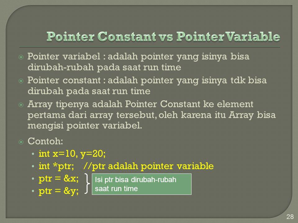  Pointer variabel : adalah pointer yang isinya bisa dirubah-rubah pada saat run time  Pointer constant : adalah pointer yang isinya tdk bisa dirubah
