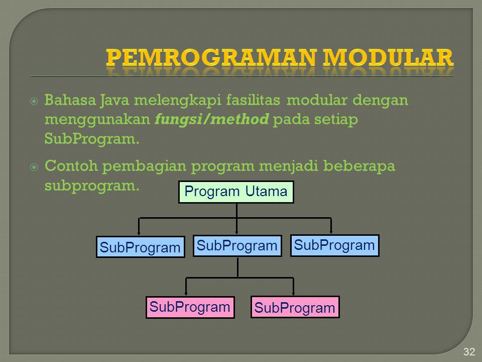  Bahasa Java melengkapi fasilitas modular dengan menggunakan fungsi/method pada setiap SubProgram.  Contoh pembagian program menjadi beberapa subpro