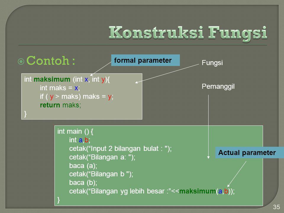 """ Contoh : 35 int maksimum (int x, int y){ int maks = x; if ( y > maks) maks = y; return maks; } int main () { int a,b; cetak(""""Input 2 bilangan bulat"""