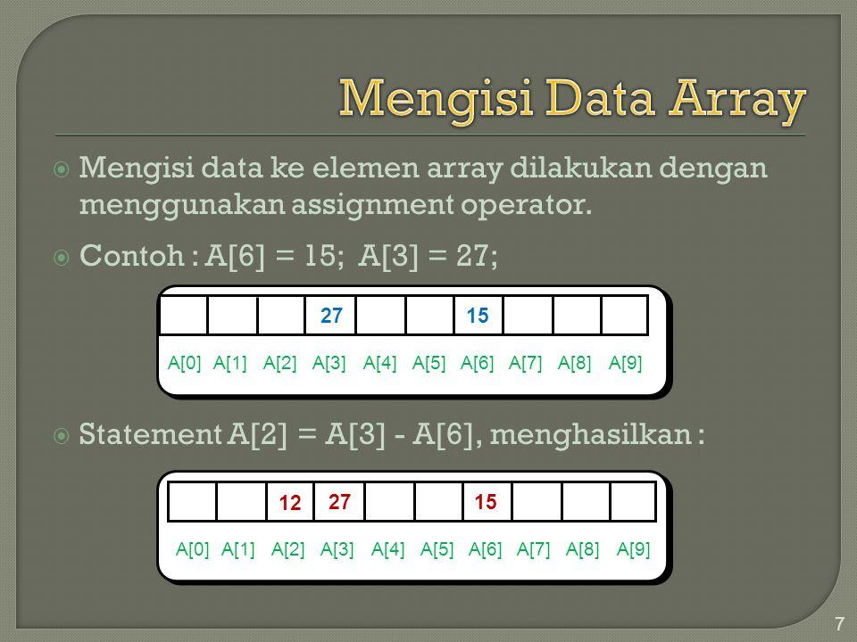  Mengisi data ke elemen array dilakukan dengan menggunakan assignment operator.  Contoh : A[6] = 15; A[3] = 27;  Statement A[2] = A[3] - A[6], meng