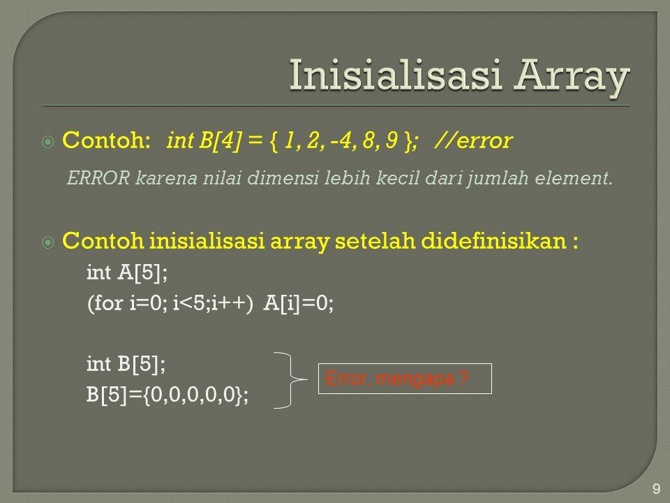  Contoh: int B[4] = { 1, 2, -4, 8, 9 }; //error ERROR karena nilai dimensi lebih kecil dari jumlah element.  Contoh inisialisasi array setelah didef