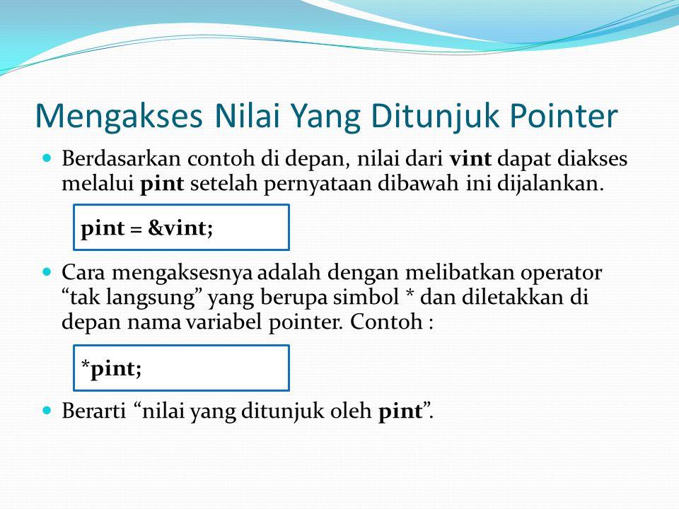 Mengakses Nilai Yang Ditunjuk Pointer Berdasarkan contoh di depan, nilai dari vint dapat diakses melalui pint setelah pernyataan dibawah ini dijalankan.