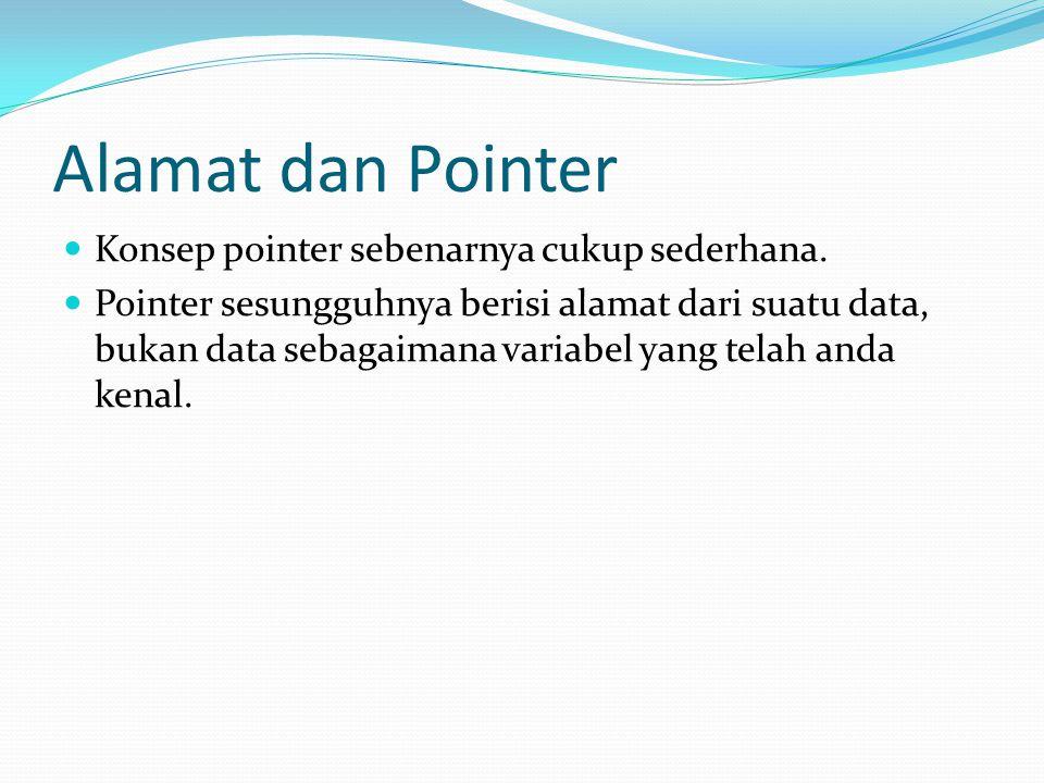 Alamat dan Pointer Konsep pointer sebenarnya cukup sederhana. Pointer sesungguhnya berisi alamat dari suatu data, bukan data sebagaimana variabel yang