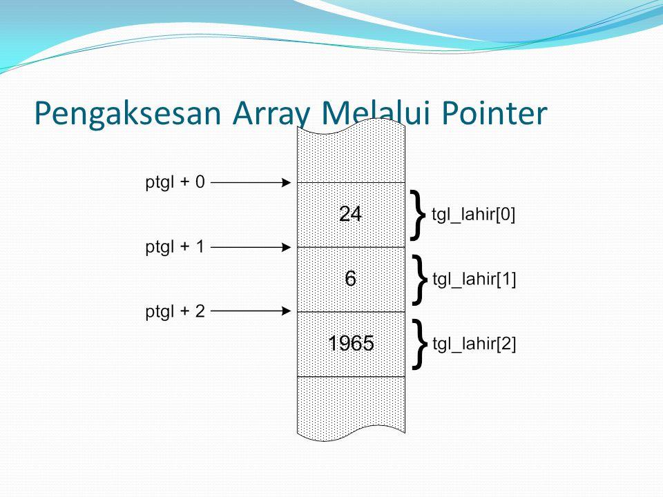 Pengaksesan Array Melalui Pointer