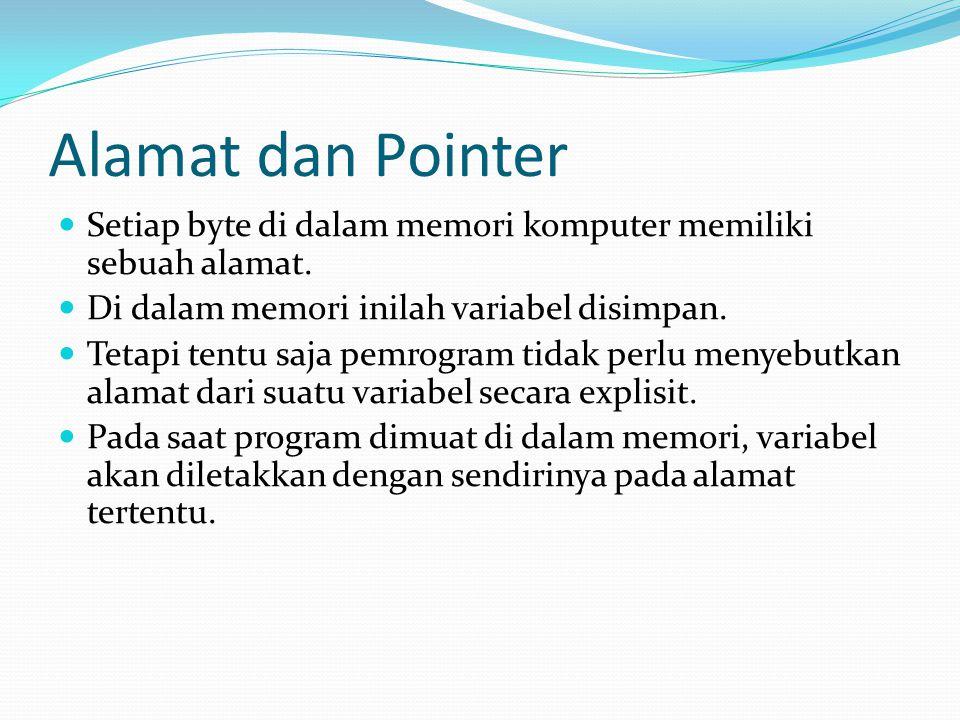 Alamat dan Pointer Suatu pointer di dalam program dimaksudkan untuk menunjuk suatu alamat memori.