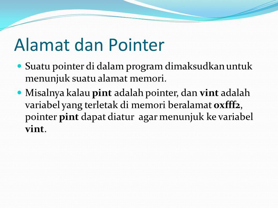 Alamat dan Pointer Suatu pointer di dalam program dimaksudkan untuk menunjuk suatu alamat memori. Misalnya kalau pint adalah pointer, dan vint adalah