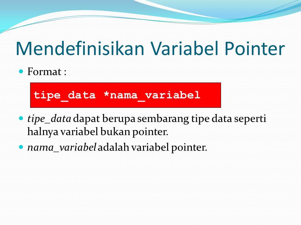Mendefinisikan Variabel Pointer Format : tipe_data dapat berupa sembarang tipe data seperti halnya variabel bukan pointer. nama_variabel adalah variab