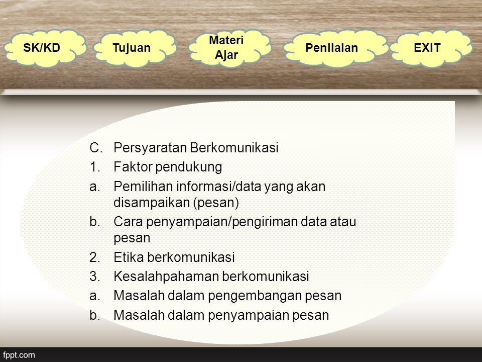 C.Persyaratan Berkomunikasi 1.Faktor pendukung a.Pemilihan informasi/data yang akan disampaikan (pesan) b.Cara penyampaian/pengiriman data atau pesan