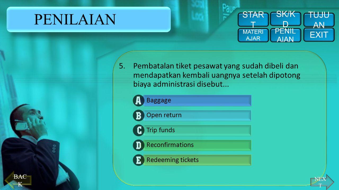 NEX T PENILAIAN 4.Informasi mengenai peraturan kepabeanan dari suatu negara yang akan dikunjungi disebut... STAR T PENIL AIAN EXIT TUJU AN SK/K D MATE