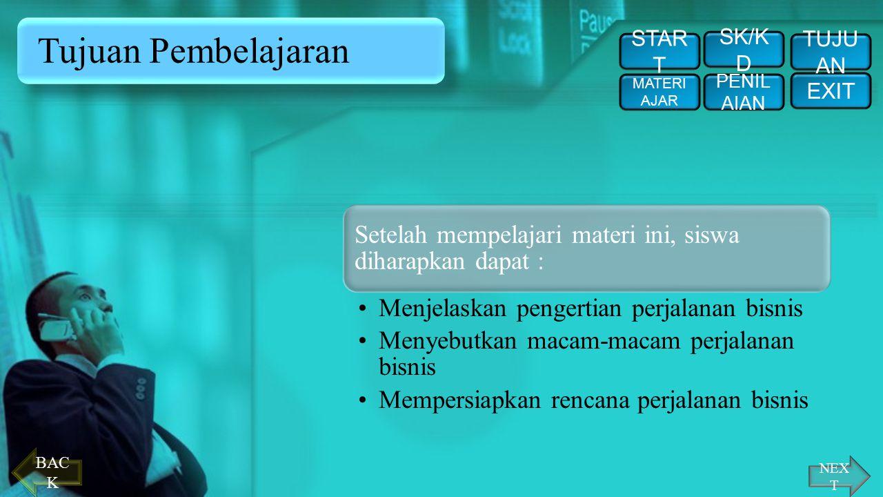 SK / KD STAR T PENIL AIAN EXIT TUJU AN SK/K D MATERI AJAR Standar Kompetensi : Memproses perjalanan bisnis Kompetensi Dasar : Mendeskripsikan perjalan