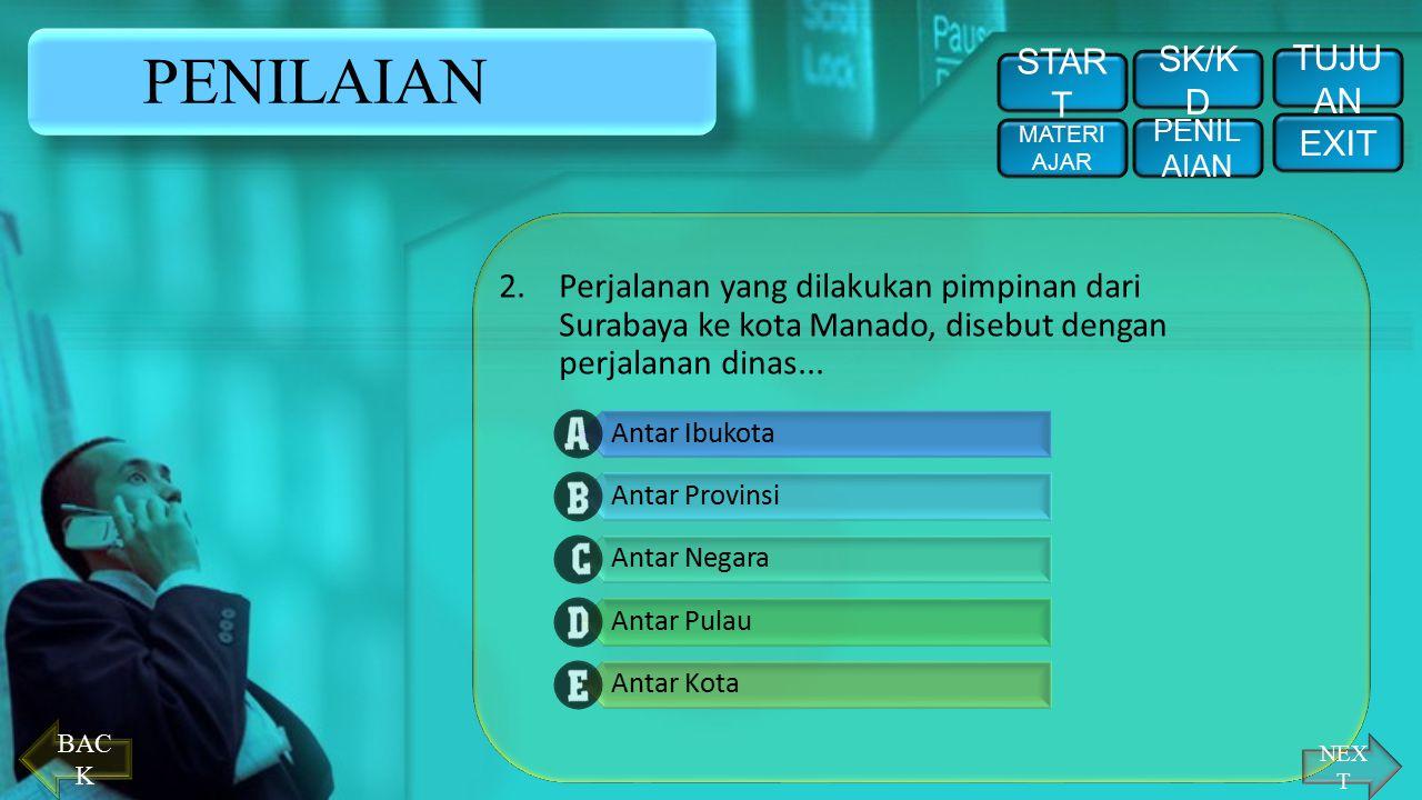 PENILAIAN Pilihlah (klik) pada huruf a, b, c, d, atau e di depan jawaban yang tepat. 1.Pimpinan melakukan pekerjaan keluar kota atau keluar negeri yan