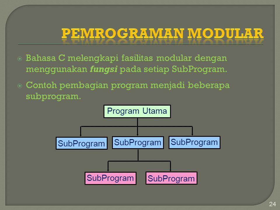  Bahasa C melengkapi fasilitas modular dengan menggunakan fungsi pada setiap SubProgram.  Contoh pembagian program menjadi beberapa subprogram. 24 P