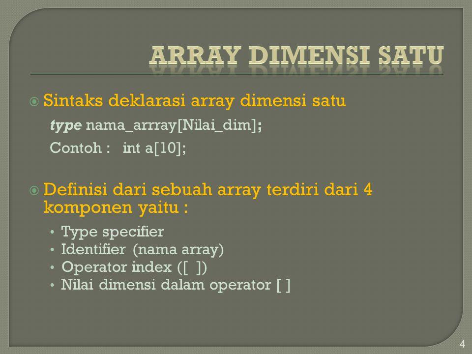  Sintaks deklarasi array dimensi satu type nama_arrray[Nilai_dim]; Contoh :int a[10];  Definisi dari sebuah array terdiri dari 4 komponen yaitu : Type specifier Identifier (nama array) Operator index ([ ]) Nilai dimensi dalam operator [ ] 4